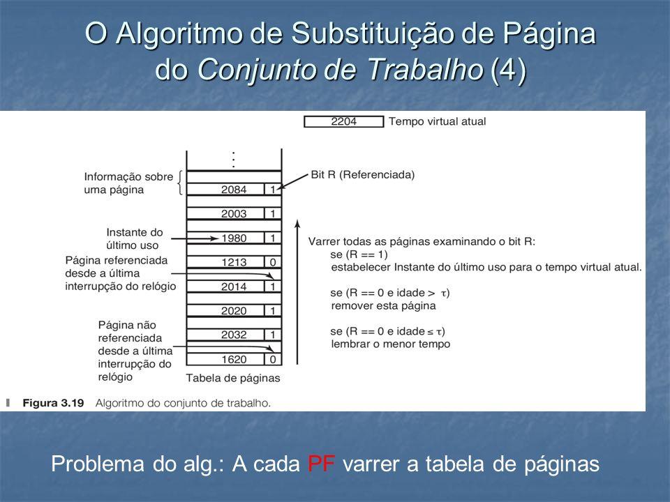 O Algoritmo de Substituição de Página do Conjunto de Trabalho (4) Problema do alg.: A cada PF varrer a tabela de páginas