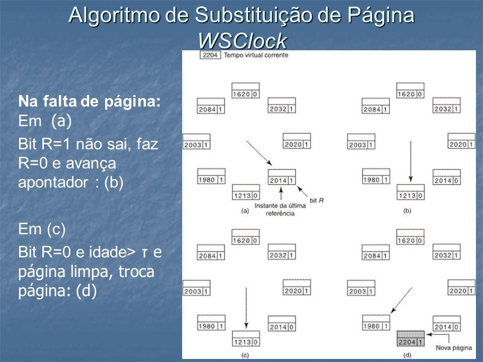 Algoritmo de Substituição de Página WSClock Na falta de página: Em (a) Bit R=1 não sai, faz R=0 e avança apontador : (b) Em (c) Bit R=0 e idade> ז e p