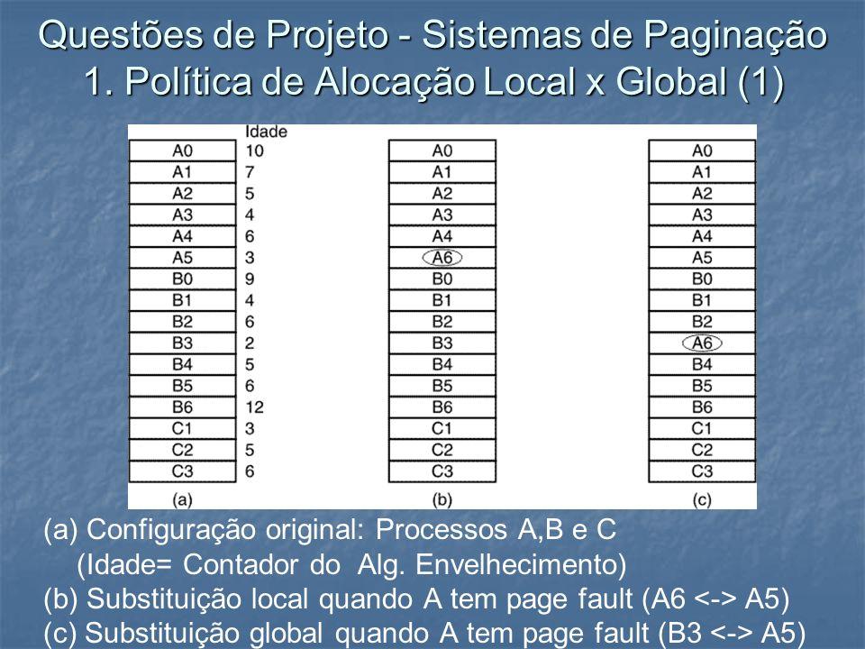 Questões de Projeto - Sistemas de Paginação 1. Política de Alocação Local x Global (1) (a) Configuração original: Processos A,B e C (Idade= Contador d