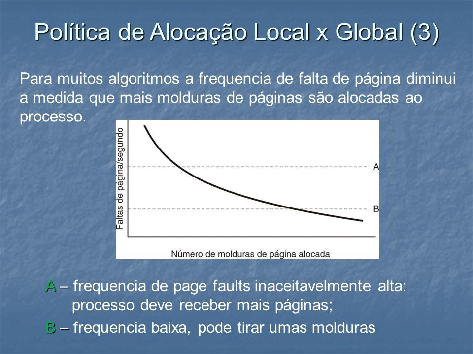 A – A – frequencia de page faults inaceitavelmente alta: processo deve receber mais páginas; B – B – frequencia baixa, pode tirar umas molduras Para m