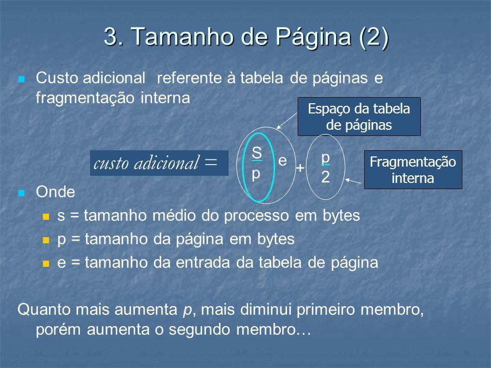 3. Tamanho de Página (2) Custo adicional referente à tabela de páginas e fragmentação interna Onde s = tamanho médio do processo em bytes p = tamanho