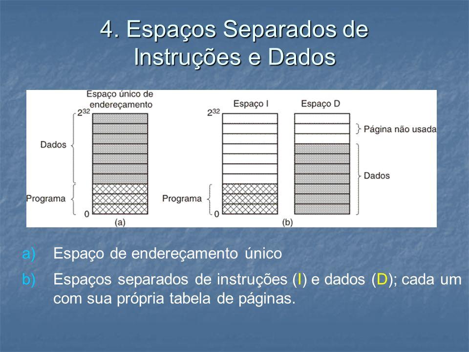 4. Espaços Separados de Instruções e Dados a) a)Espaço de endereçamento único b) b)Espaços separados de instruções (I) e dados (D); cada um com sua pr
