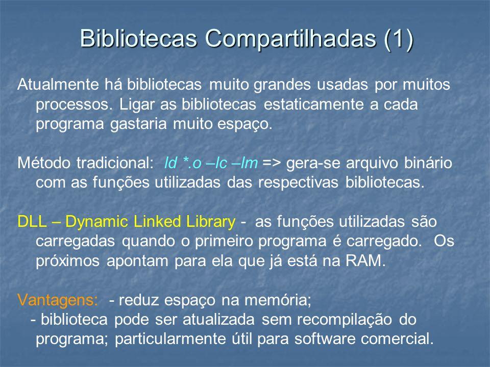Bibliotecas Compartilhadas (1) Atualmente há bibliotecas muito grandes usadas por muitos processos. Ligar as bibliotecas estaticamente a cada programa