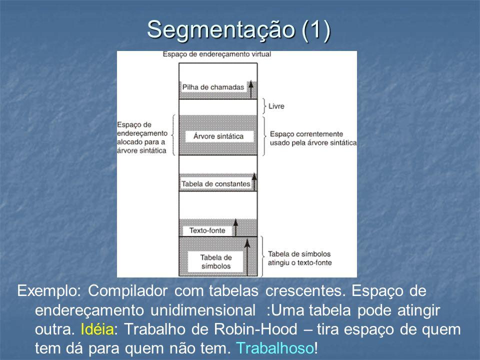 Segmentação (1) Exemplo: Compilador com tabelas crescentes. Espaço de endereçamento unidimensional :Uma tabela pode atingir outra. Idéia: Trabalho de