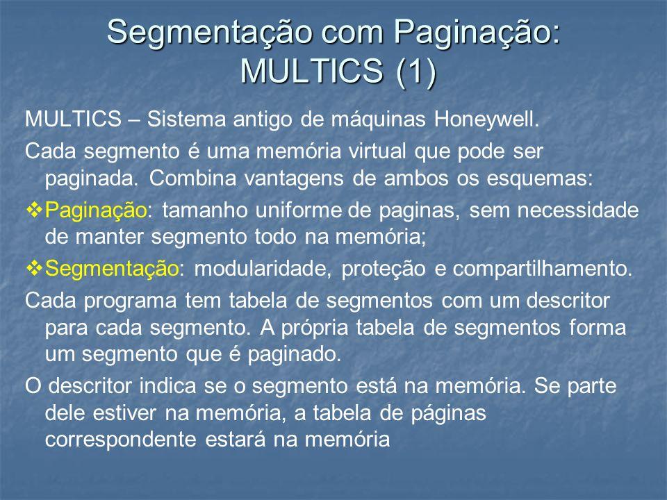Segmentação com Paginação: MULTICS (1) MULTICS – Sistema antigo de máquinas Honeywell. Cada segmento é uma memória virtual que pode ser paginada. Comb