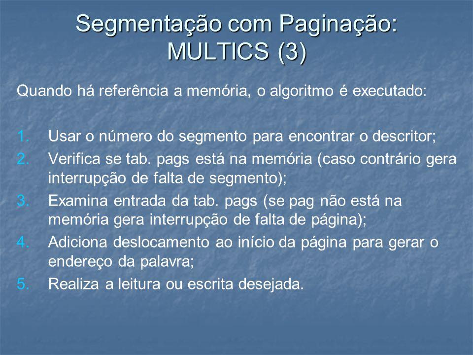 Quando há referência a memória, o algoritmo é executado: 1. 1.Usar o número do segmento para encontrar o descritor; 2. 2.Verifica se tab. pags está na
