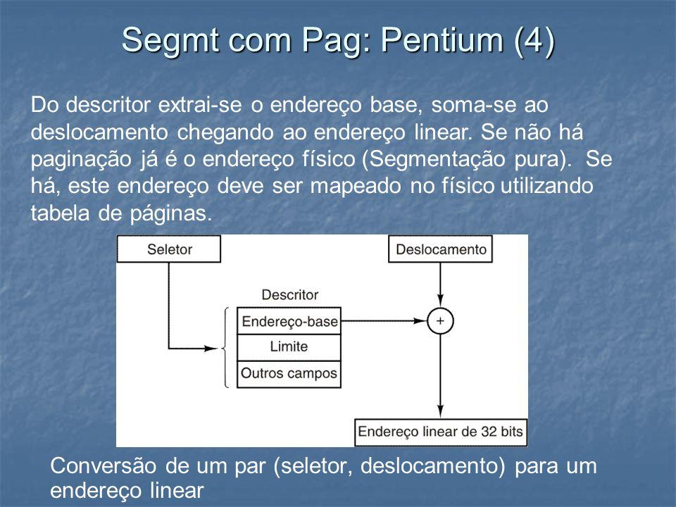 Segmt com Pag: Pentium (4) Conversão de um par (seletor, deslocamento) para um endereço linear Do descritor extrai-se o endereço base, soma-se ao desl
