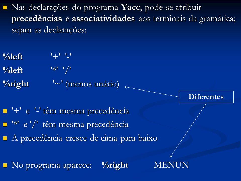 Nas declarações do programa Yacc, pode-se atribuir precedências e associatividades aos terminais da gramática; sejam as declarações: Nas declarações d