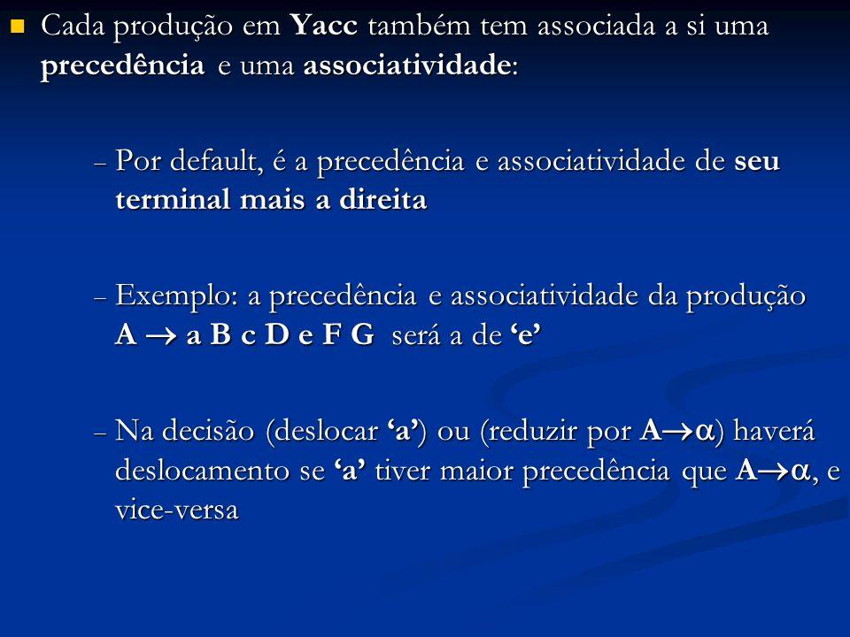 Cada produção em Yacc também tem associada a si uma precedência e uma associatividade: Cada produção em Yacc também tem associada a si uma precedência