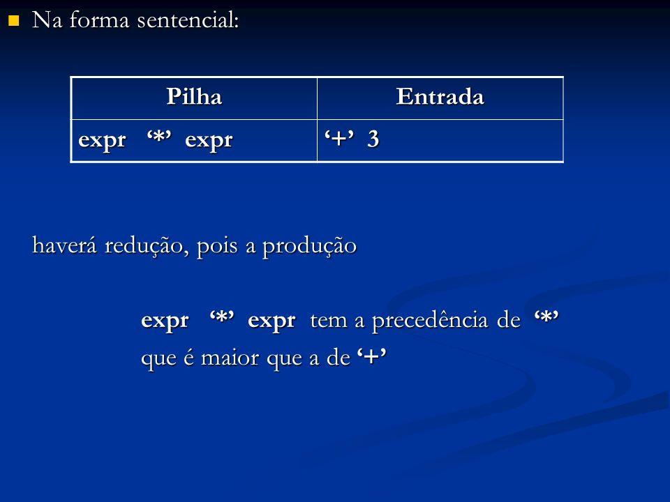 Na forma sentencial: Na forma sentencial: haverá redução, pois a produção expr * expr tem a precedência de * que é maior que a de + PilhaEntrada expr