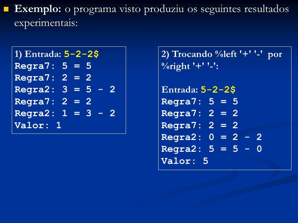 Exemplo: o programa visto produziu os seguintes resultados experimentais: Exemplo: o programa visto produziu os seguintes resultados experimentais: 1)