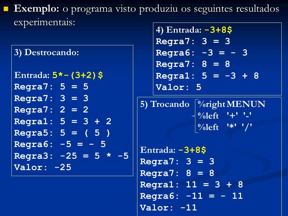 Exemplo: o programa visto produziu os seguintes resultados experimentais: Exemplo: o programa visto produziu os seguintes resultados experimentais: 3)