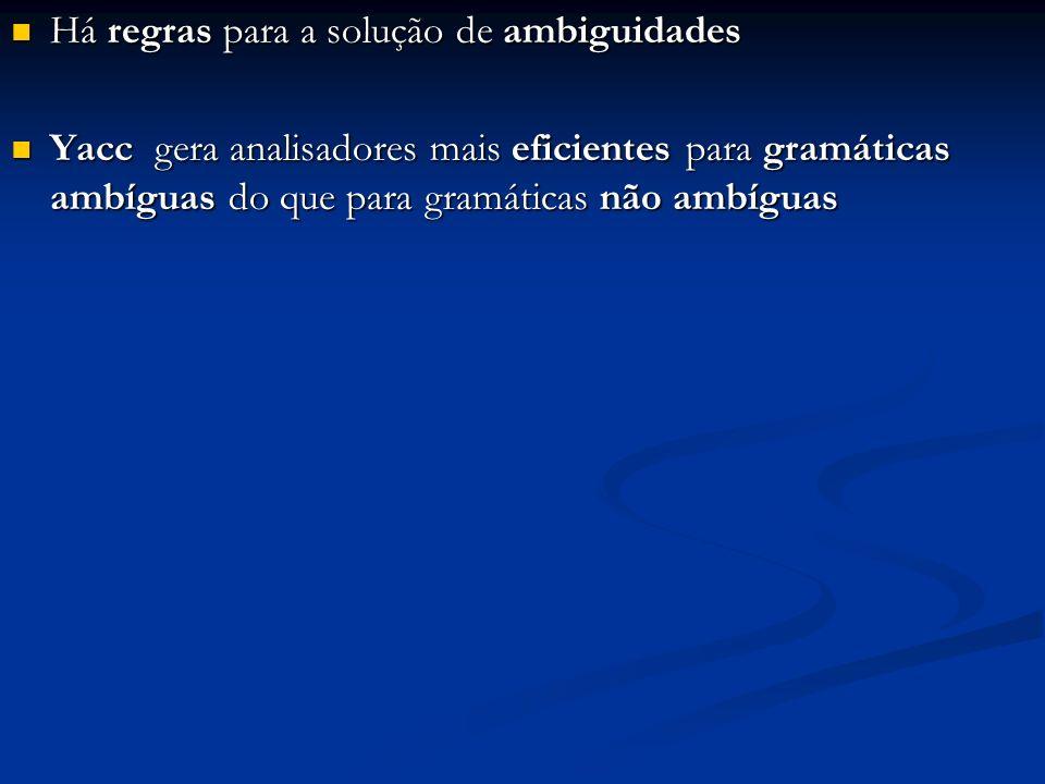 Analisador sintático: %{ #include #include void Esperado (char *); %} %union { char cadeia[50]; char carac; }