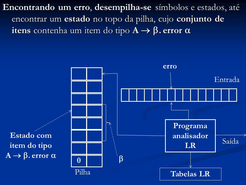 Encontrando um erro, desempilha-se símbolos e estados, até encontrar um estado no topo da pilha, cujo conjunto de itens contenha um item do tipo A. er