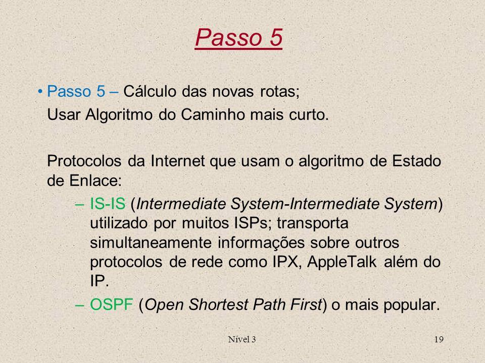 Nível 319 Passo 5 Passo 5 – Cálculo das novas rotas; Usar Algoritmo do Caminho mais curto. Protocolos da Internet que usam o algoritmo de Estado de En