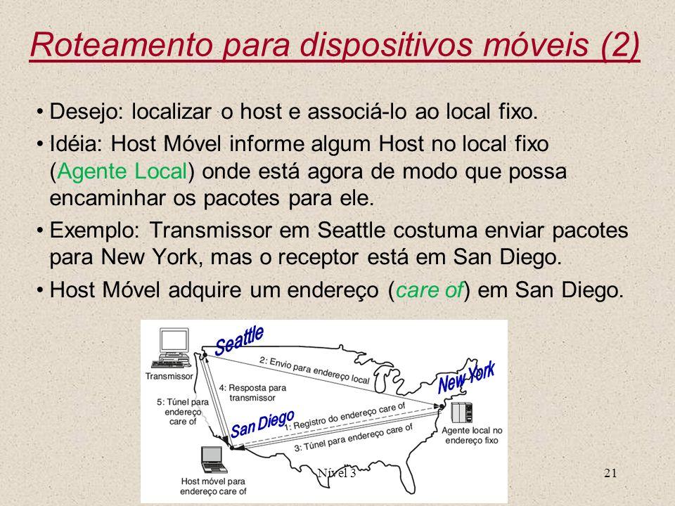 Nível 321 Desejo: localizar o host e associá-lo ao local fixo. Idéia: Host Móvel informe algum Host no local fixo (Agente Local) onde está agora de mo