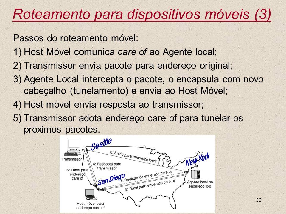 Nível 322 Passos do roteamento móvel: 1)Host Móvel comunica care of ao Agente local; 2)Transmissor envia pacote para endereço original; 3)Agente Local