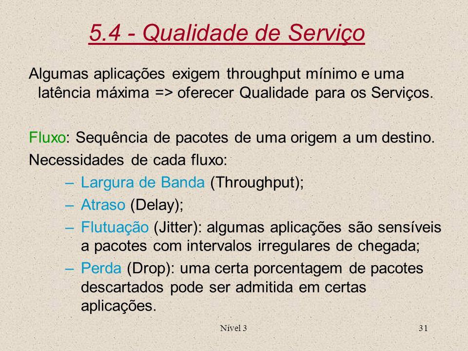 Nível 331 5.4 - Qualidade de Serviço Algumas aplicações exigem throughput mínimo e uma latência máxima => oferecer Qualidade para os Serviços. Fluxo: