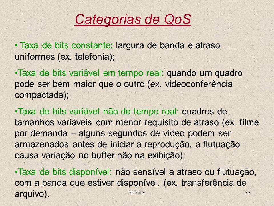 Nível 333 Categorias de QoS Taxa de bits constante: largura de banda e atraso uniformes (ex. telefonia); Taxa de bits variável em tempo real: quando u