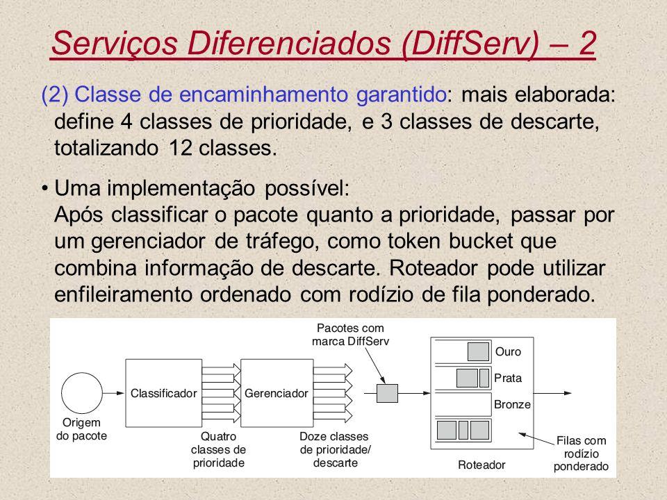 Nível 340 Serviços Diferenciados (DiffServ) – 2 (2) Classe de encaminhamento garantido: mais elaborada: define 4 classes de prioridade, e 3 classes de