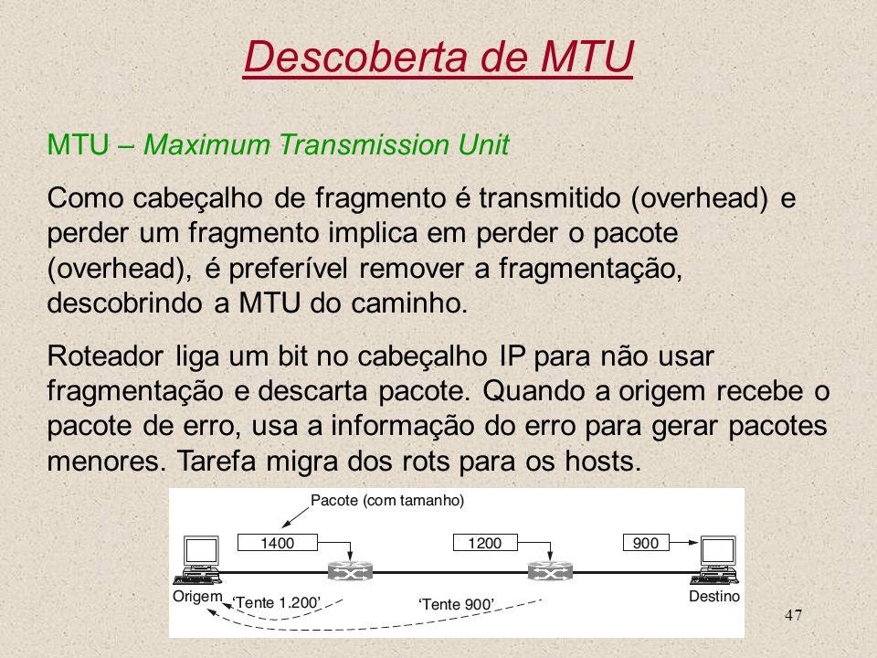 Nível 347 Descoberta de MTU MTU – Maximum Transmission Unit Como cabeçalho de fragmento é transmitido (overhead) e perder um fragmento implica em perd