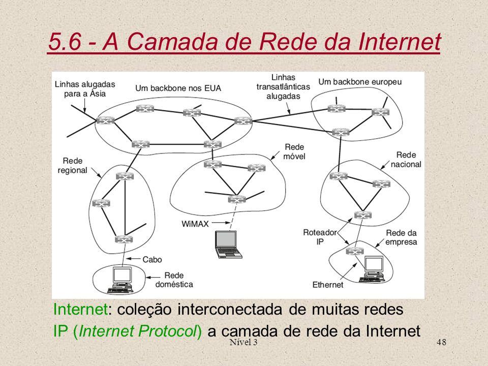 Nível 348 5.6 - A Camada de Rede da Internet Internet: coleção interconectada de muitas redes IP (Internet Protocol) a camada de rede da Internet