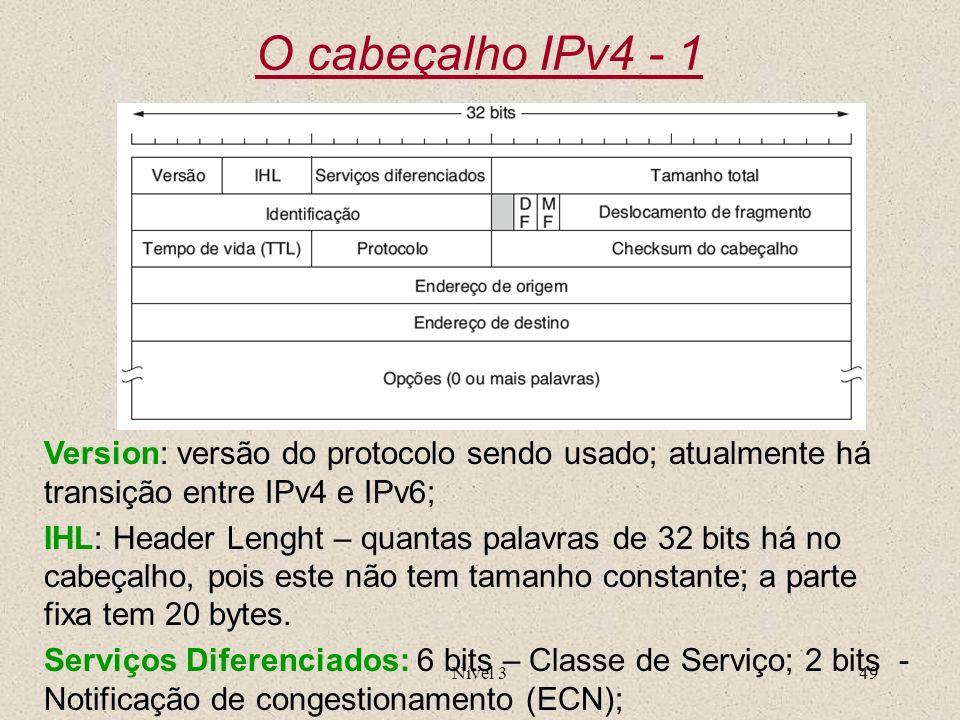 Nível 349 O cabeçalho IPv4 - 1 Version: versão do protocolo sendo usado; atualmente há transição entre IPv4 e IPv6; IHL: Header Lenght – quantas palav