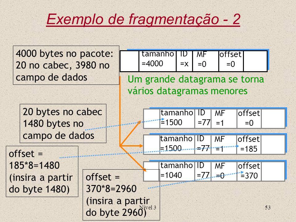 Nível 353 ID =x offset =0 MF =0 tamanho =4000 ID =77 offset =0 MF =1 tamanho =1500 ID =77 offset =185 MF =1 tamanho =1500 ID =77 offset =370 MF =0 tam