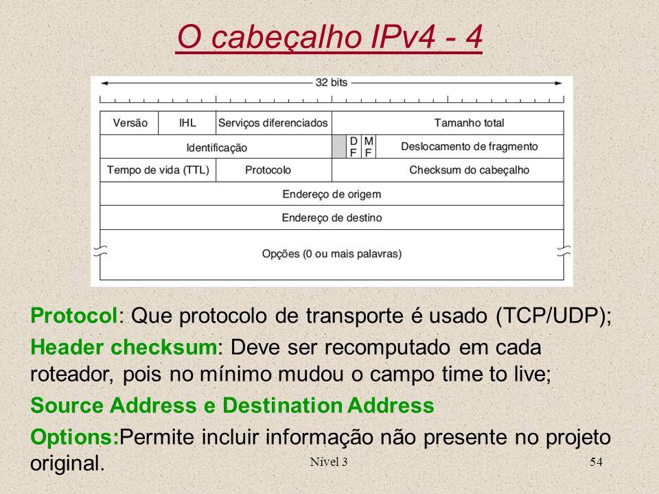 Nível 354 O cabeçalho IPv4 - 4 Protocol: Que protocolo de transporte é usado (TCP/UDP); Header checksum: Deve ser recomputado em cada roteador, pois n
