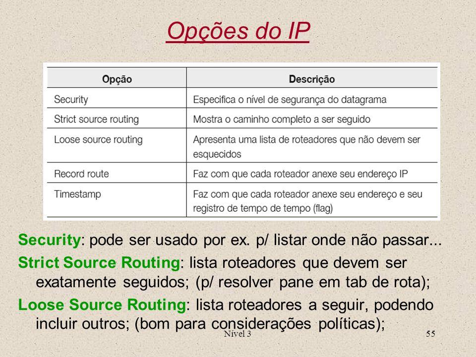 Nível 355 Opções do IP Security: pode ser usado por ex. p/ listar onde não passar... Strict Source Routing: lista roteadores que devem ser exatamente