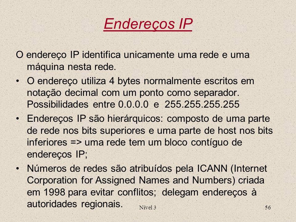 Nível 356 Endereços IP O endereço IP identifica unicamente uma rede e uma máquina nesta rede. O endereço utiliza 4 bytes normalmente escritos em notaç