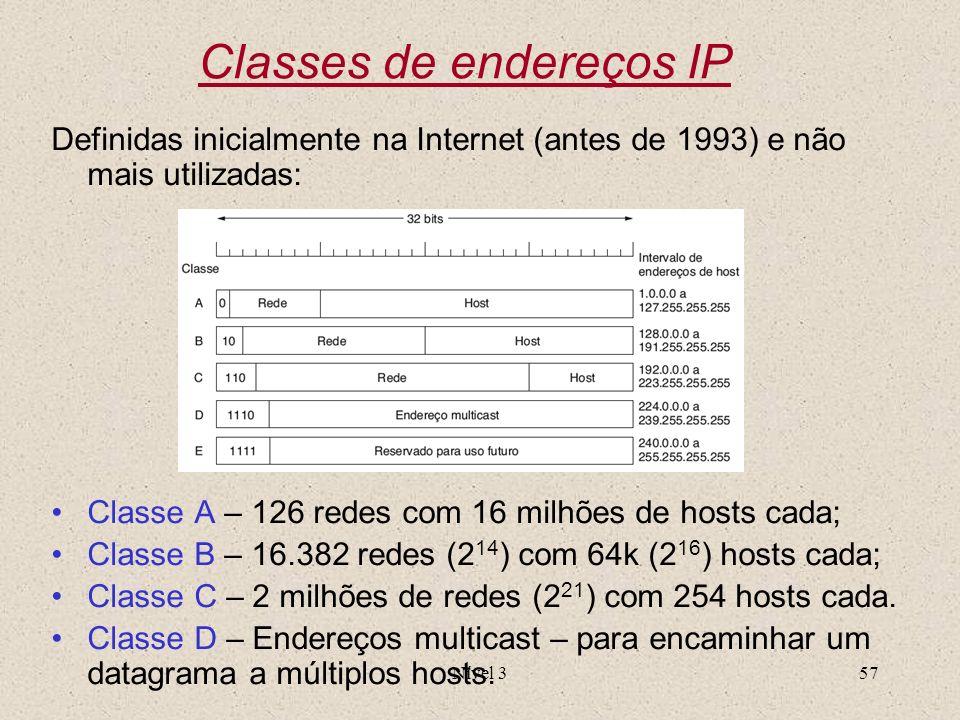 Nível 357 Classes de endereços IP Definidas inicialmente na Internet (antes de 1993) e não mais utilizadas: Classe A – 126 redes com 16 milhões de hos