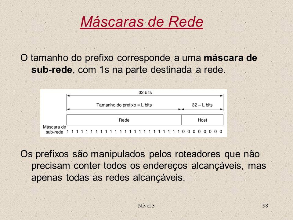 Nível 358 Máscaras de Rede O tamanho do prefixo corresponde a uma máscara de sub-rede, com 1s na parte destinada a rede. Os prefixos são manipulados p