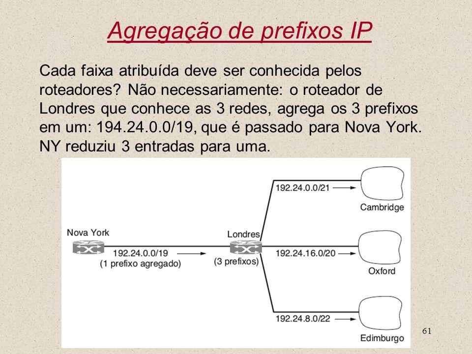 Nível 361 Agregação de prefixos IP Cada faixa atribuída deve ser conhecida pelos roteadores? Não necessariamente: o roteador de Londres que conhece as