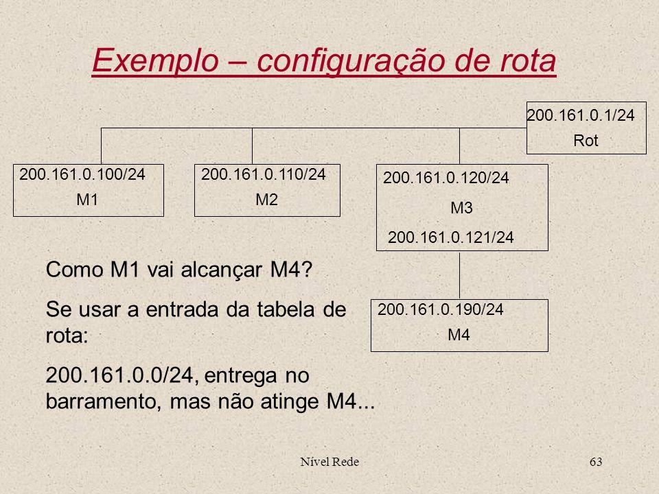 Nível Rede63 Exemplo – configuração de rota 200.161.0.120/24 M3 200.161.0.121/24 200.161.0.100/24 M1 200.161.0.110/24 M2 200.161.0.190/24 M4 Como M1 v