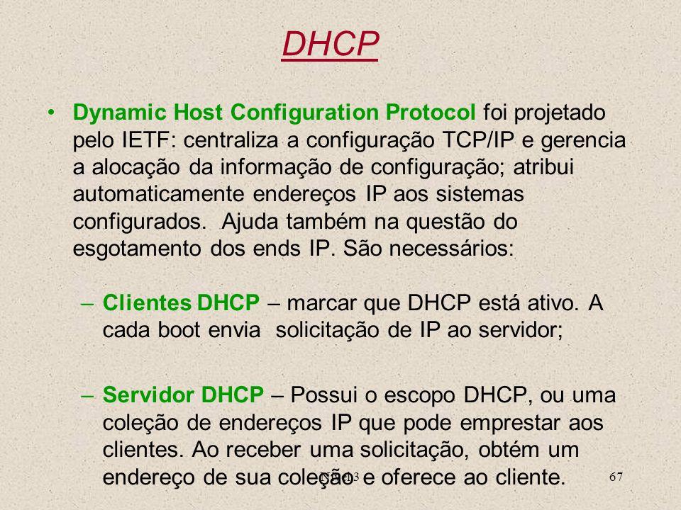 Nível 367 DHCP Dynamic Host Configuration Protocol foi projetado pelo IETF: centraliza a configuração TCP/IP e gerencia a alocação da informação de co