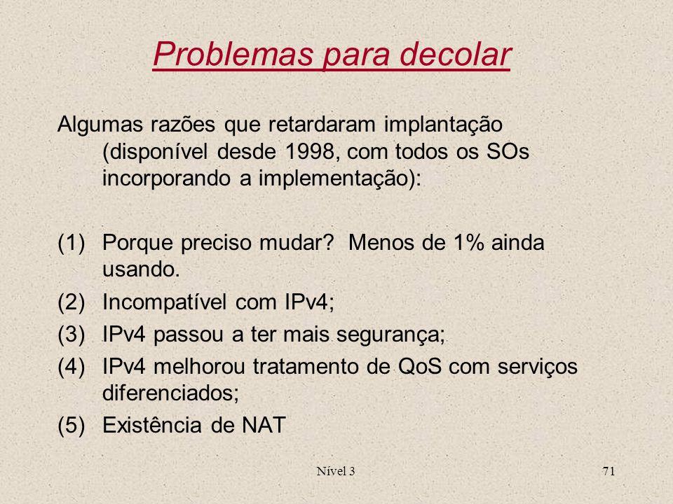 Nível 371 Problemas para decolar Algumas razões que retardaram implantação (disponível desde 1998, com todos os SOs incorporando a implementação): (1)
