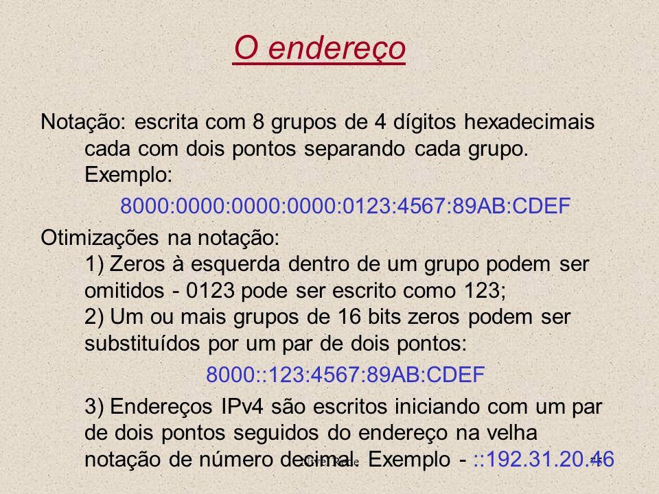 Nível Rede75 O endereço Notação: escrita com 8 grupos de 4 dígitos hexadecimais cada com dois pontos separando cada grupo. Exemplo: 8000:0000:0000:000