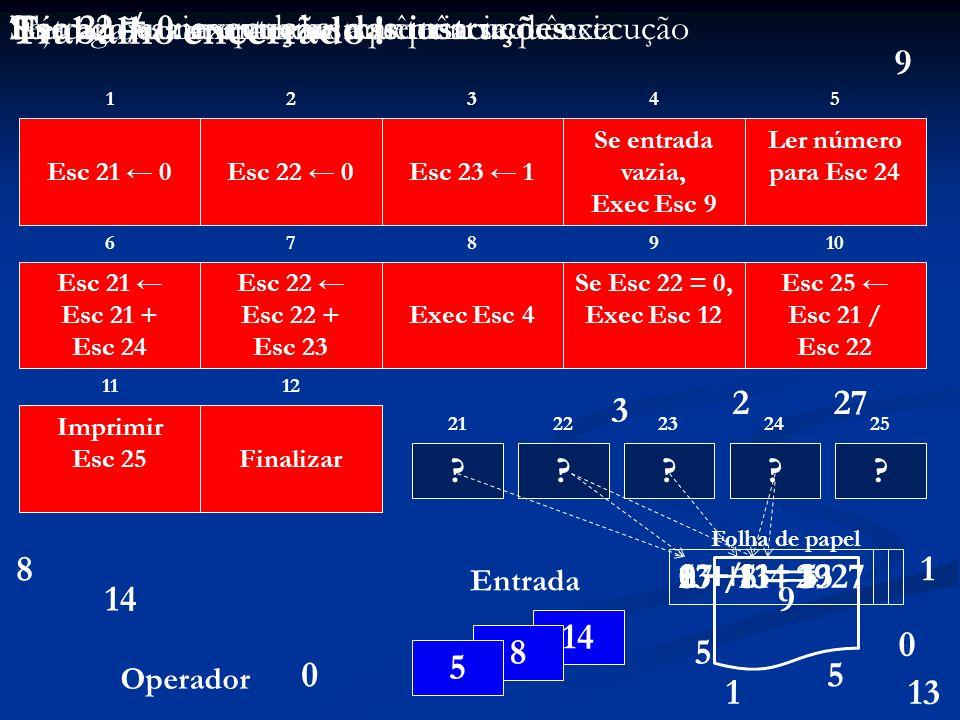 ? 13 + 14 = 2727 / 3 = 92 + 1 = 3 ? 12345 678910 1112 21 ? 222324 ? 25 ? 14 8 5 Entrada Operador 0 Esc 23 1 Se entrada vazia, Exec Esc 9 Ler número pa