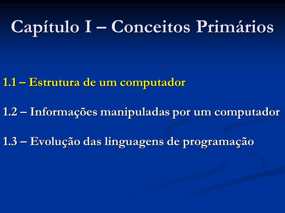 Capítulo I – Conceitos Primários 1.1 – Estrutura de um computador 1.2 – Informações manipuladas por um computador 1.3 – Evolução das linguagens de pro