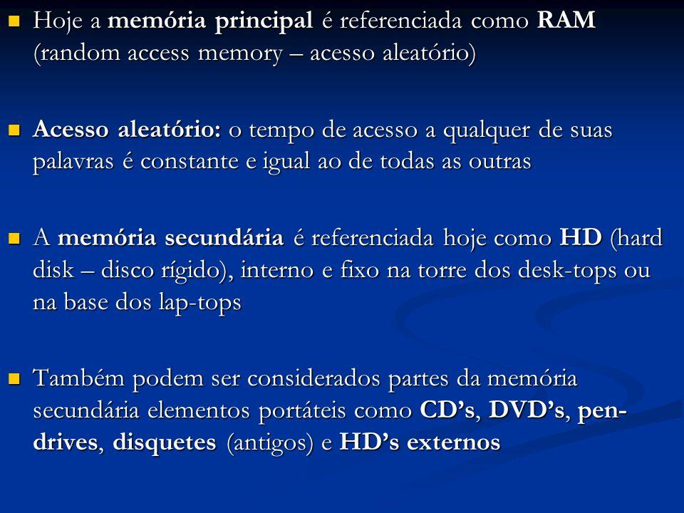 Hoje a memória principal é referenciada como RAM (random access memory – acesso aleatório) Hoje a memória principal é referenciada como RAM (random ac