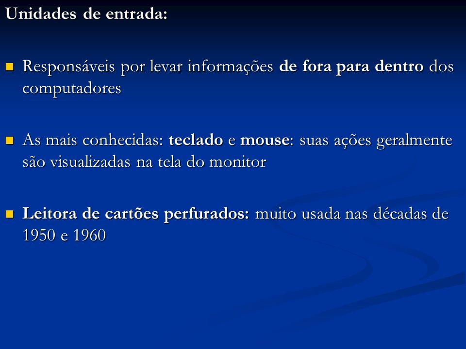 Unidades de entrada: Responsáveis por levar informações de fora para dentro dos computadores Responsáveis por levar informações de fora para dentro do