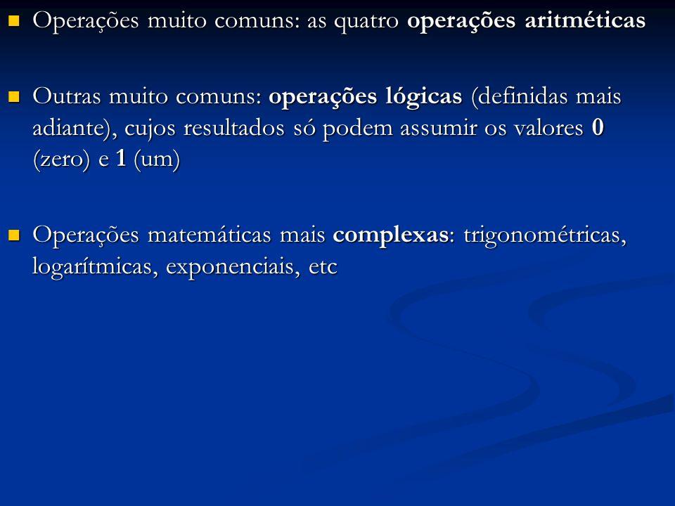 Operações muito comuns: as quatro operações aritméticas Operações muito comuns: as quatro operações aritméticas Outras muito comuns: operações lógicas