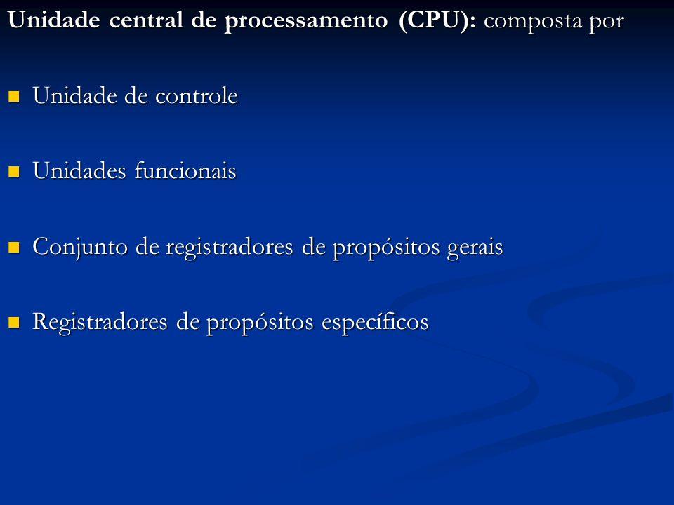 Unidade central de processamento (CPU): composta por Unidade de controle Unidade de controle Unidades funcionais Unidades funcionais Conjunto de regis