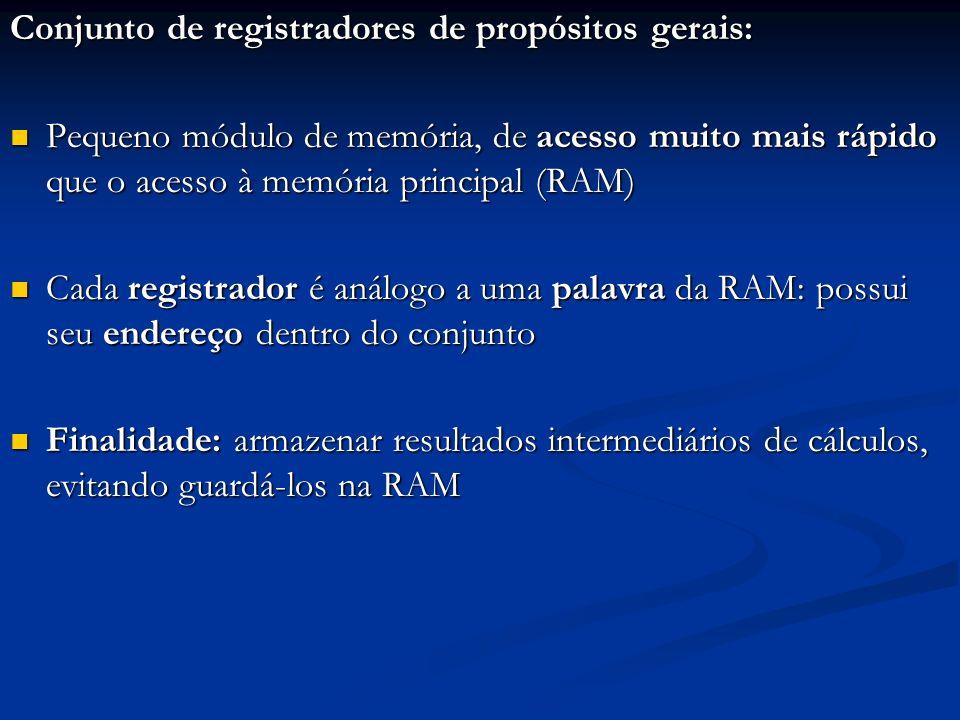 Conjunto de registradores de propósitos gerais: Pequeno módulo de memória, de acesso muito mais rápido que o acesso à memória principal (RAM) Pequeno