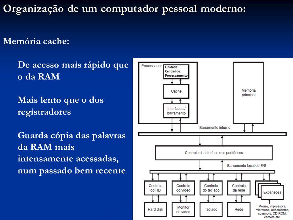 Organização de um computador pessoal moderno: Memória cache: De acesso mais rápido que o da RAM Mais lento que o dos registradores Guarda cópia das pa