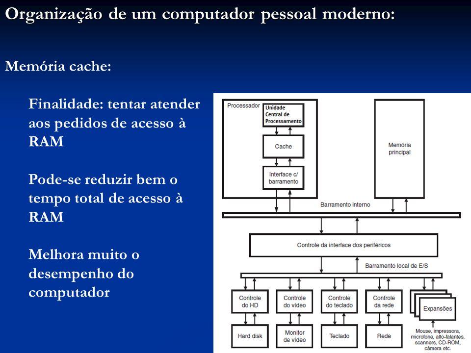 Organização de um computador pessoal moderno: Memória cache: Finalidade: tentar atender aos pedidos de acesso à RAM Pode-se reduzir bem o tempo total