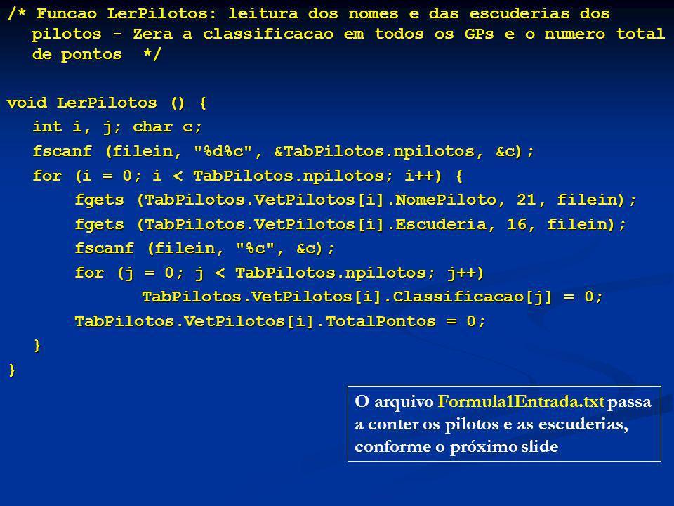 /* Funcao LerPilotos: leitura dos nomes e das escuderias dos pilotos - Zera a classificacao em todos os GPs e o numero total de pontos */ void LerPilotos () { int i, j; char c; fscanf (filein, %d%c , &TabPilotos.npilotos, &c); fscanf (filein, %d%c , &TabPilotos.npilotos, &c); for (i = 0; i < TabPilotos.npilotos; i++) { for (i = 0; i < TabPilotos.npilotos; i++) { fgets (TabPilotos.VetPilotos[i].NomePiloto, 21, filein); fgets (TabPilotos.VetPilotos[i].NomePiloto, 21, filein); fgets (TabPilotos.VetPilotos[i].Escuderia, 16, filein); fgets (TabPilotos.VetPilotos[i].Escuderia, 16, filein); fscanf (filein, %c , &c); fscanf (filein, %c , &c); for (j = 0; j < TabPilotos.npilotos; j++) for (j = 0; j < TabPilotos.npilotos; j++) TabPilotos.VetPilotos[i].Classificacao[j] = 0; TabPilotos.VetPilotos[i].Classificacao[j] = 0; TabPilotos.VetPilotos[i].TotalPontos = 0; TabPilotos.VetPilotos[i].TotalPontos = 0;}} O arquivo Formula1Entrada.txt passa a conter os pilotos e as escuderias, conforme o próximo slide