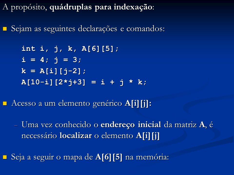 A propósito, quádruplas para indexação: Sejam as seguintes declarações e comandos: Sejam as seguintes declarações e comandos: int i, j, k, A[6][5]; i