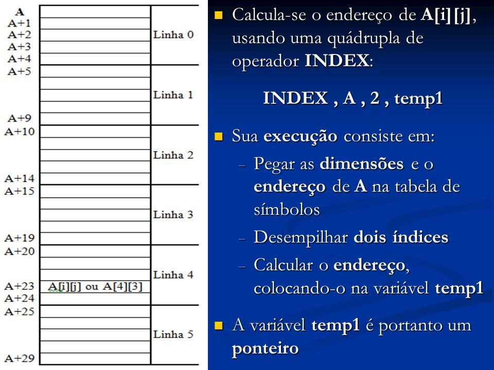 Calcula-se o endereço de A[i][j], usando uma quádrupla de operador INDEX: Calcula-se o endereço de A[i][j], usando uma quádrupla de operador INDEX: IN